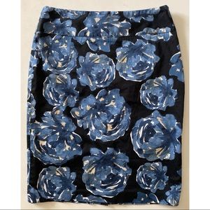 Alfani Black Pencil Skirt with Blue Posies 6